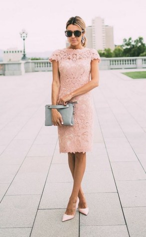 pink-lace-sheath-wedding-guest-dress-via-tadashi-shoji